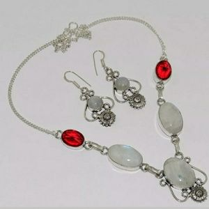 New Rainbow Moonstone, Garnet Silver Jewelry Set.